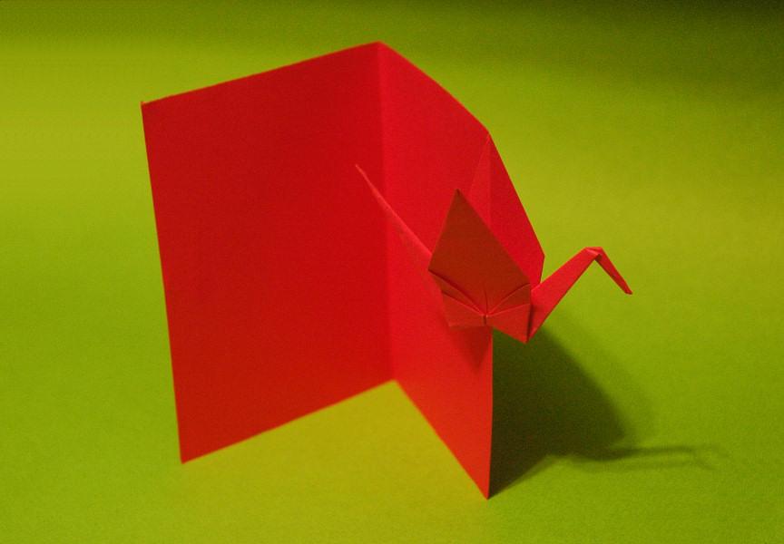Cartão em Origami com Tsuru