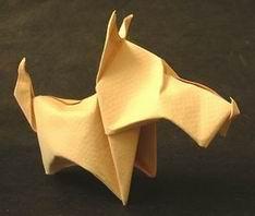 Origami com a técnica da dobra úmida