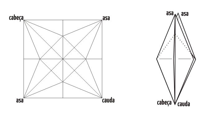Crease Pattern da base do Pássaro