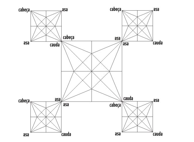 5 Tsurus em Voo - Crease Pattern