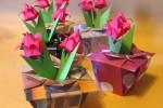 Origami Flores no Vaso para o Dia das Mães